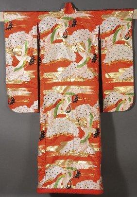A JAPANESE WOVEN SILK KIMONO