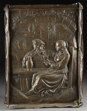 A LARGE FRENCH REPOUSSE BRASS PLAQUE