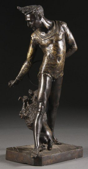 A FRENCH GILT BRONZE FIGURE OF AN ENTERTAINER.