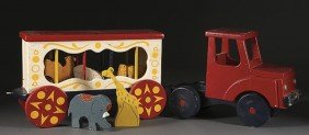 VINTAGE WOODEN TOY CIRCUS WAGON