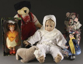 A VINTAGE DOLL AND STUFFED ANIMAL GROUPING