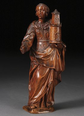 FINE CARVED FRUITWOOD FIGURE CIRCA 1700
