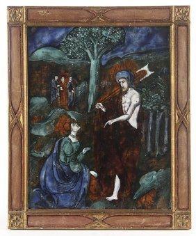 LIMOGES ENAMEL PLAQUE, 16TH CENTURY