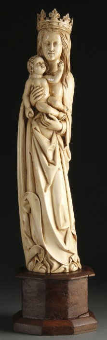 MASSIVE CARVED IVORY GOTHIC STYLE VIRGIN & CHILD