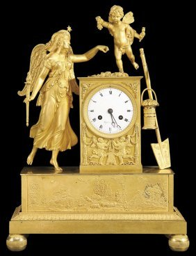 FRENCH EMPIRE GILT BRONZE FIGURAL MANTLE CLOCK