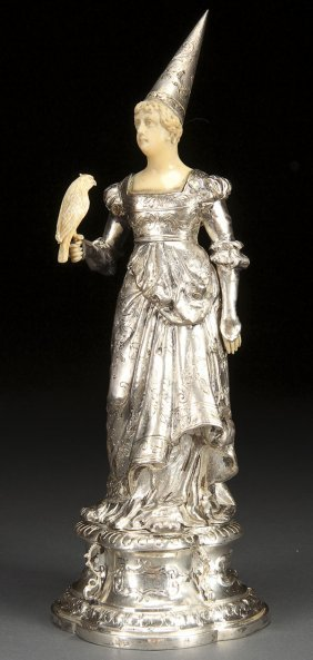 RENAISSANCE STYLE  SILVER CARVED IVORY MAIDEN