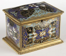 FRENCH CHAMPLEVE ENAMELED GILT BRONZE CASKET 19TH