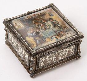 CONTINENTAL SILVER, ENAMEL, & IVORY LIDDED BOX