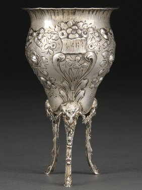 GERMAN HANAU SILVER RAMS LEG FOOTED BEAKER CUP
