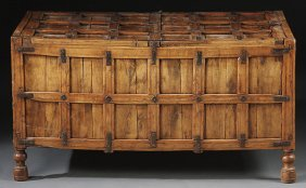 ANGLO-INDIAN  WOOD & IRON DOWRY CHEST 18TH/19TH C