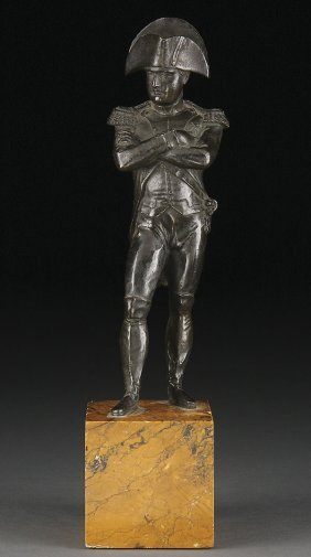 FRENCH BRONZE & MARBLE NAPOLEON FIGURE