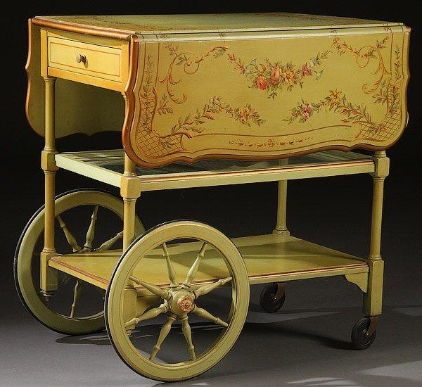 A Baker Furniture Hand Painted Tea Cart Lot 1307