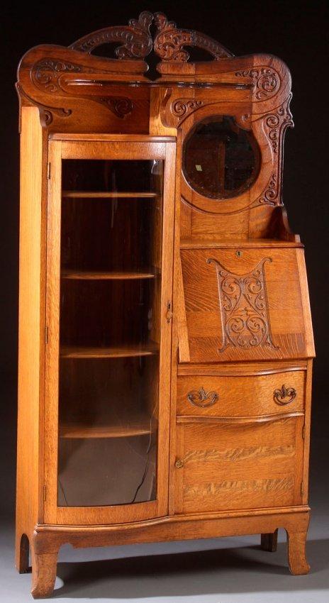 A Victorian Oak Curved Glass Secretary Bookcase Lot 631