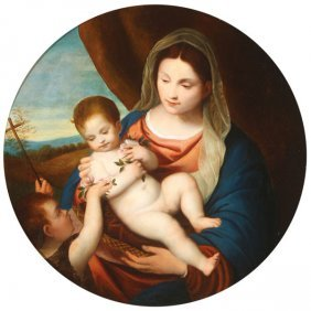 Beautiful Madonna And Child Painting, 19th C.