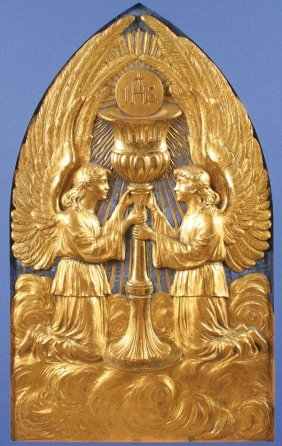 Impressive Gilt Bronze Angel Plaque French 19th C
