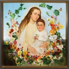 Large Madonna And Child Painting Signed