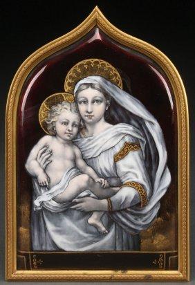 Limoges Enamel Virgin & Child, 19th C