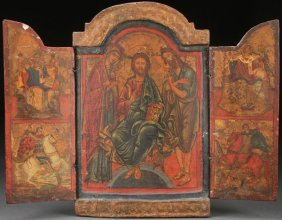 A Greek Icon Triptych Of The Deisis