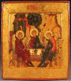 A Russian Icon Of The Trinity, 17th C