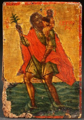 Greek Icon Of St Christopher