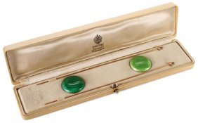 Unique Cased Faberge Gold & Enamel Hat Pins