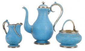 Russian Silver & Enamel Tea Set Moscow C 1900