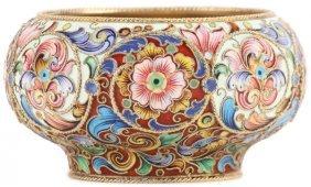 A Russian Silver & Enameled Bowl, Feodor Ruckert