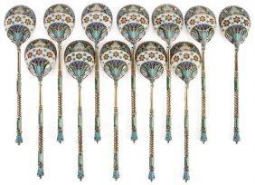 12 Russian Silver & Enameled Spoons, Ovchinnikov