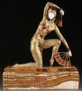 Bronze Art Deco Fan Dancer After Chiparus