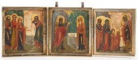 Russian Silver & Enamel Icon Triptych