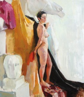 A Russian Painting Of A Nude Female Artists Model