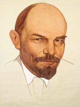 Painting Of Lenin And Linen Embroidered Banner