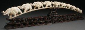 Chinese Carved Ivory Tusk Of Elephants Circa 1925