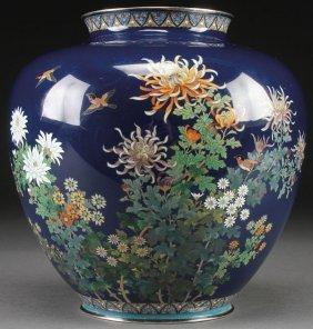Japanese Cloisonne Bronze & Silver Vase, Meiji