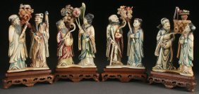 8 Chinese Carved Ivory And Polychrome Immortals
