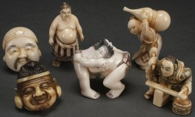 A Group Of Six Japanese Carved Ivory Netsukes