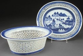 "Chinese Export ""canton"" Blue & White Fruit Basket"