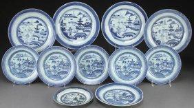 11 Pcs Chinese Export Canton Blue&white Porcelain