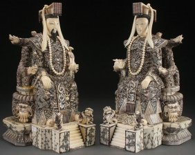 Pr Of Faux Ivory/bone Emperor/empress Figures