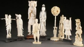 9 Pc Group Of Oriental Carved Ivory Figures