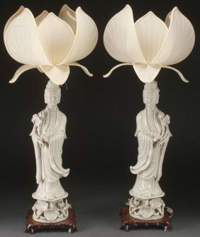 Pr Of Chinese Blanc De Chine Figures (lamps)