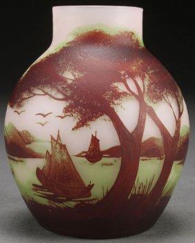 A Raspiller Cameo Art Glass Vase