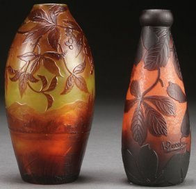 Two French Cameo Art Glass Vases, Early 20th C