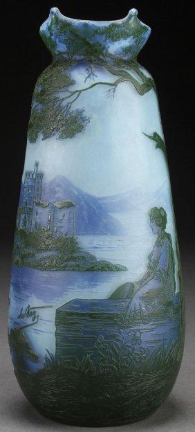 A Devez French Cameo Art Glass Vase, Circa 1900