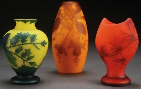 A Three Piece Group Of Loetz Cameo Glass Vases
