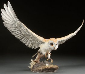 "A Large English Boehm Porcelain ""barn Owl"" Figure"