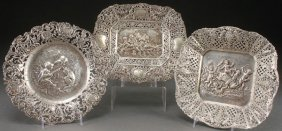 3 German Hanau Style Silver Cabinet Plates