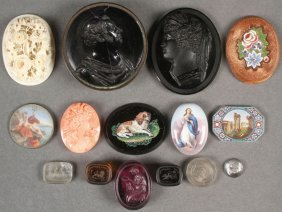 15 18th/19th C Carved Miniature Cameos