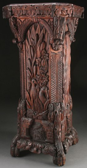 Upper Midwest Folk Art Carved Pedestal