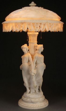 "Italian Carved Marble ""3 Graces"" Parlor Lamp"